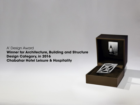 "Silver Winner for Architecture, Building and Structure Design Category, ""Chabahar Hotel Leisure & Hospitality"""