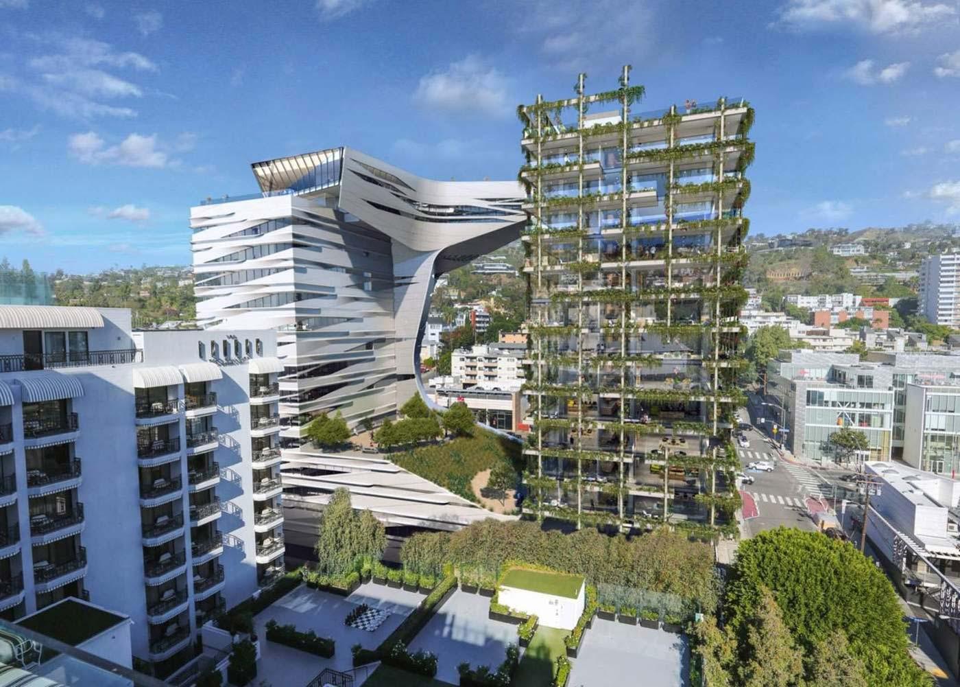 معرفی برج دو قلو ناهمسان Sunset٨٨٥٠ در لس آنجلس